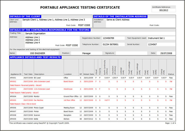 Portable Appliance Testing Pat Aa Electrical Services